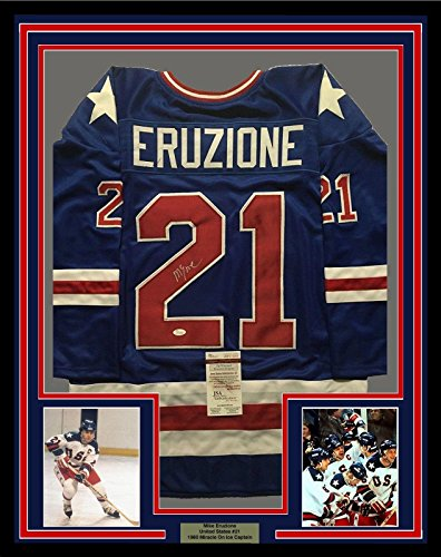 FRAMED Autographed/Signed MIKE ERUZIONE 33x42 1980 Miracl...