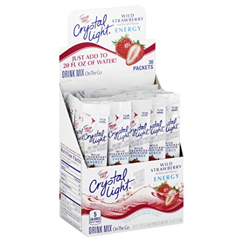 Crystal Light Wild Strawberry Energy Drink Mix (60 On the Go Packets, 2 Boxes of 30)