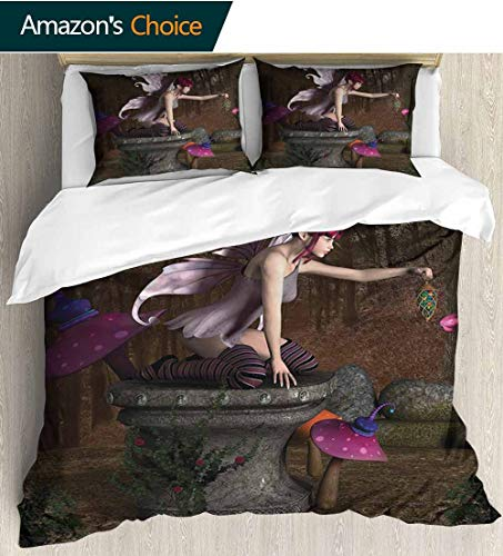 shirlyhome Fairy Print Comforter Quilt Set,Three Dimensional Mythical Creature Design with Magical Artifact on Pedestal Forest with 1 Pillowcase for Kids Bedding 90