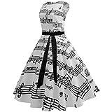 Wellwits Womens Boat Neck Sash Waist Tie Hepburn Fall Vintage Swing Dress