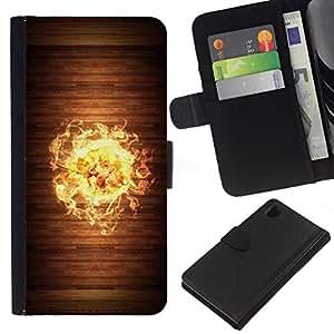 All Phone Most Case / Oferta Especial Cáscara Funda de cuero Monedero Cubierta de proteccion Caso / Wallet Case for Sony Xperia Z1 L39 // Wood Fire Flame