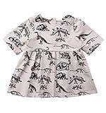 yannzi Baby Girls Dinosaur Dress Clothes Ruffle Sleeve Tutu Skirt Backless Sundress Birthday Party Princess Formal Outfit (12-24 Months, Half Sleeve)