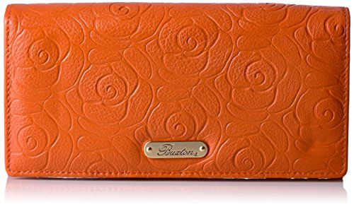 Buxton Rose Garden Expandable Clutch, Mulberry, Burnt Orange (Clutch Mulberry)
