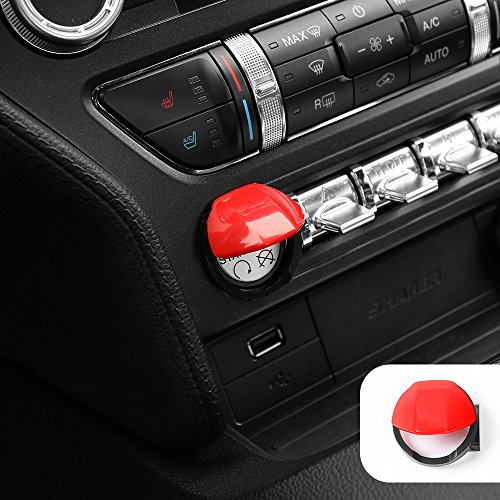 Voodonala Red Engine Start/Stop Button Center Console Dashboard Switch Cover Trim for Ford Mustang 2015 2016 ()