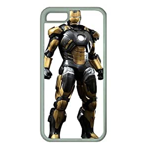 iPhone 5C case ,fashion durable White side design phone case, rubber material phone cover ,with Iron man .