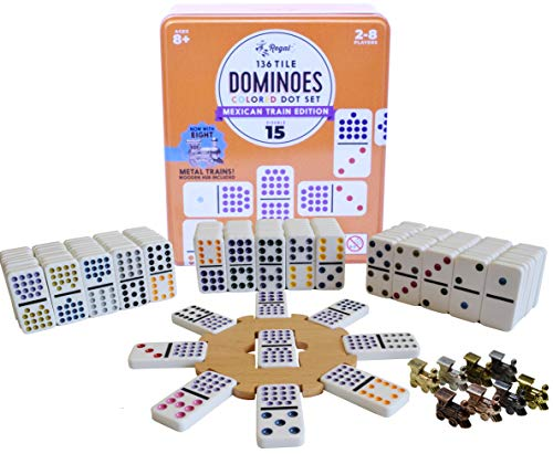 Regal Games Double 15 Mexican Train Dominoes with Wooden Hub and 8 Metal Trains