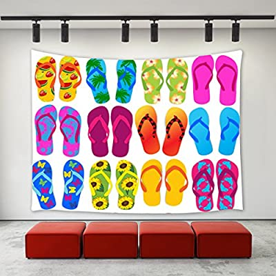 a71e31763b408f Summer Beach Decor Flip Flops Tapestry Wall Hanging Colorful Summer Holiday  Slippers Beach Flip Flops Tapestry Home Decoration Wall Decor Art  Tapestries for ...