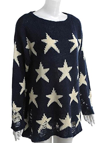 King Ma Women's Round Neck Stars Loose Pullover Sweater