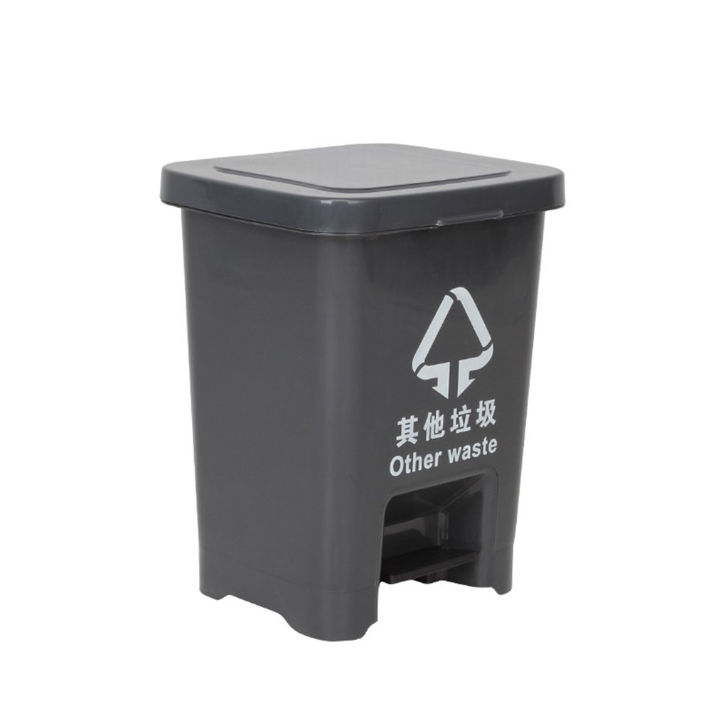 Outdoor trash can CSQ Foot Type Trash Can, Hotel Large Household Trash Can Kitchen Covered Office Creative Footsteps Commercial 15L (Color : Gray)
