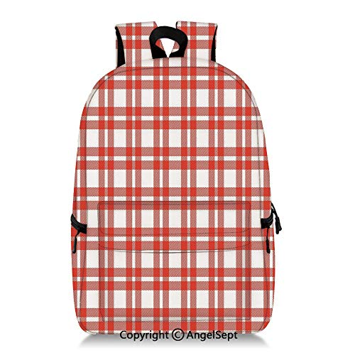 Everyday Backpack Checkered Squares and Geometric Arrangement Quilted (13 Inch Vs 15 Inch Laptop For College)