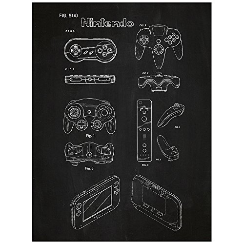 nintendo-controllers-design-patent-art-poster-18-x-24-inch-silk-screen-print-chalkboard
