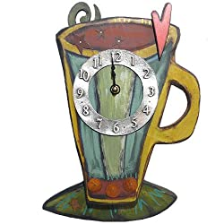 Coffee Cup Wall Clock, Carved Wood & Pewter, 16