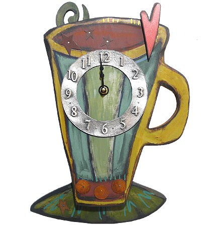 Coffee Cup Wall Clock, Carved Wood & Pewter