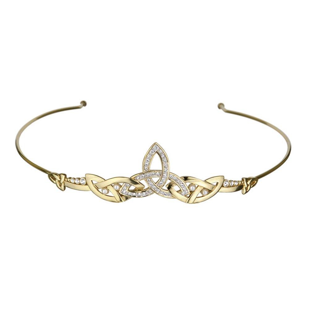 Celtic Tiara Trinity Knot Gold Plated Crystal Irish Made by Tara