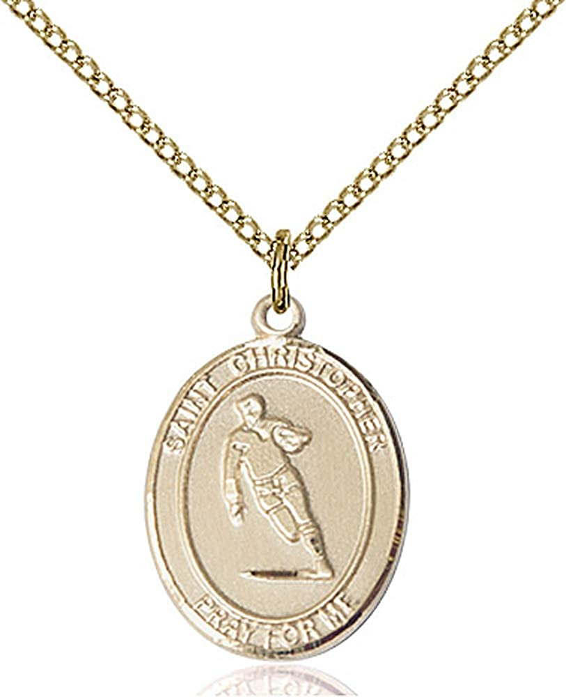 Christopher//Rugby Pendant 14kt Gold Filled St GF Lite Curb Chain Patron Saint Travelers//Motorists 3//4 x 1//2