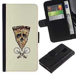 LECELL--Cuero de la tarjeta la carpeta del tirón Smartphone Slots Protección Holder For Samsung Galaxy S5 V SM-G900 -- Pizza de la bandera del cráneo de --