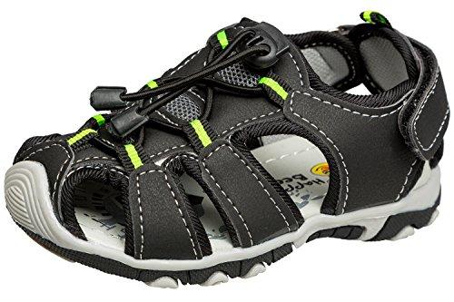 Gibra Zapatillas de Senderismo de Material Sintético Para Niño negro y verde neón