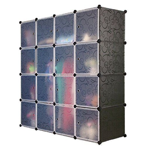 Attirant Amazon.com: UNICOO   Multi Use DIY Plastic 16 Cube Organizer, Bookcase,  Storage Cabinet, Wardrobe Closet Black With White Door (Regular Cube):  Kitchen U0026 ...