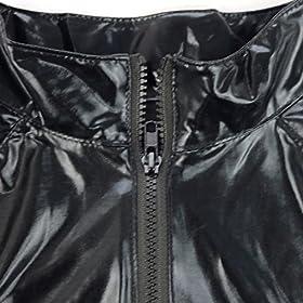 - 51SaXRriVUL - iEFiEL Men Women Wet Look PVC Leather Long Sleeves Catsuit Bodysuits