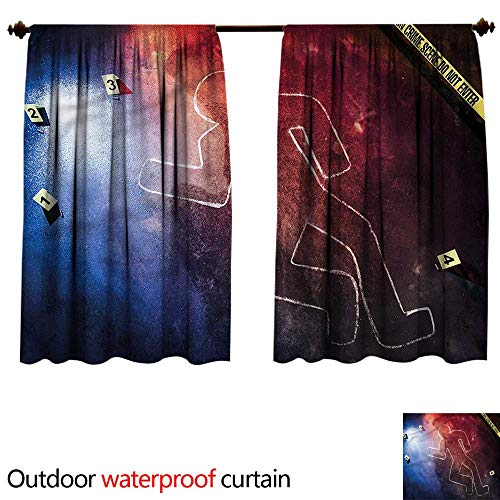 BlountDecor Sun Block Outdoor curtainAnti-Water W55 x L72(140cm x 192cm) Murder Scene,Chalk Outline Evidence ()