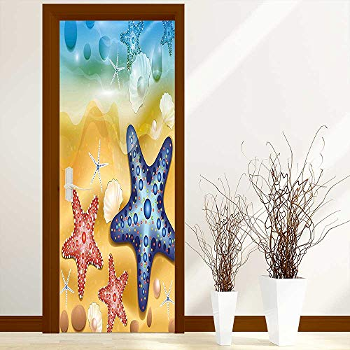 L-QN Modern Door Art Vinyl Decals Bright Starfish Shell Figures with Embellished Dots Beach Summer Sun Theme Amber Blue Wall Art Décor Sticker W32 x H80 inch