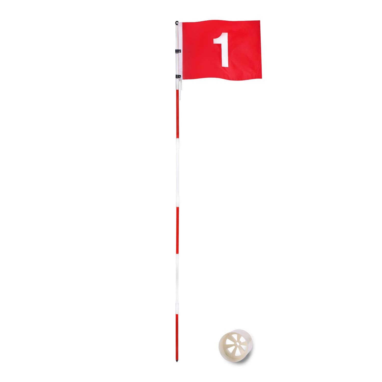 SUNHOO パッティンググリーンフラッグ 庭用ゴルフフラッグスティック フラッグ付き練習用ホールカップ 標準ゴルフコース用ゴルフピンフラグ 高さ7フィート ポータブル6セクションデザイン コネクター付き