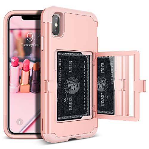 iPhone Xs Max Wallet Case - WeLoveCase Defender Wallet Card Holder Cover with Hidden Back Mirror Heavy Duty Protection Three Layer Shockproof Armor Full Protective Case for iPhone Xs Max - Rose Gold (Best Iphone Case Stores)