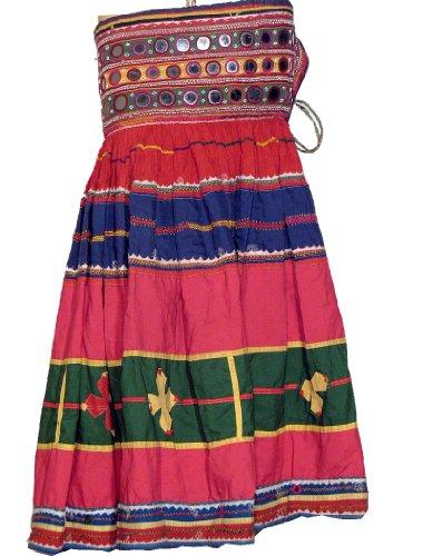 [Ethnic Banjara Handmade Vintage Mirror Skirt Costume M] (Banjara Dance Costumes)