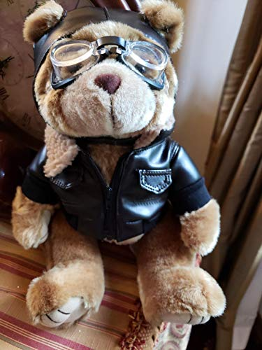 flyboy Vintage Sryle Aviator Teddy Bear, Dressed in Leather, 12