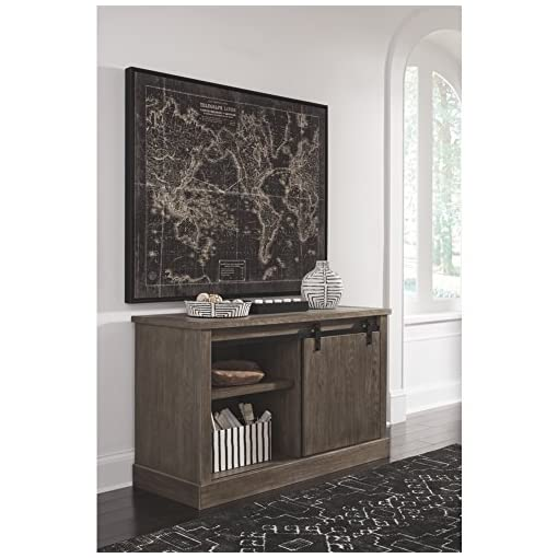 Farmhouse Buffet Sideboards Signature Design by Ashley Luxenford Rustic Farmhouse Credenza with Sliding Barn Door, Grayish Brown farmhouse buffet sideboards