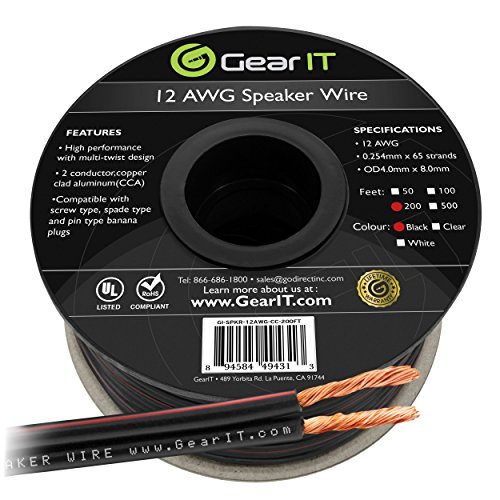 12AWG Speaker Wire, GearIT Pro Series 12 Gauge Speaker Wire Cable (200 Feet / 60.96 Meters) Great Use for Home Theater Speakers and Car Speakers, Black 12' Speaker