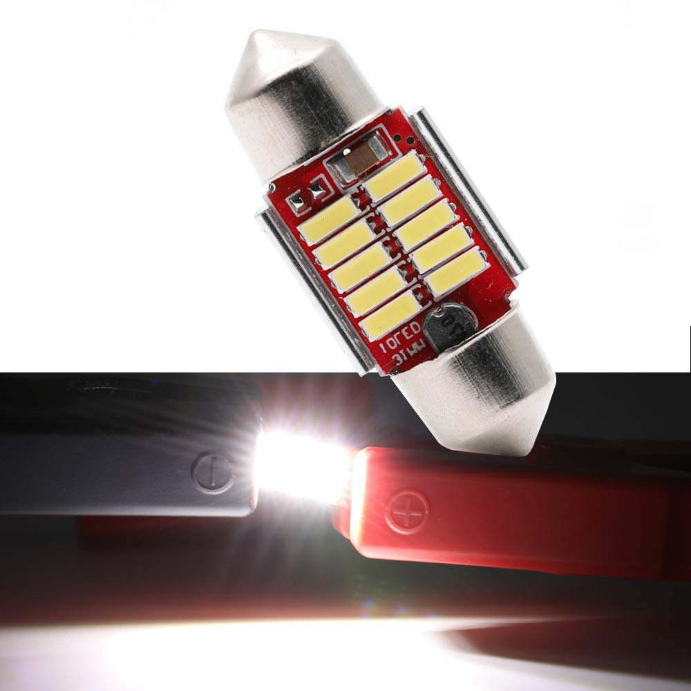 Extremely Bright CANBUS Error Free 3528 Chipset DE3175 DE3021 Festoon Xenon White LED Bulbs Replacement for Map Dome License Plate Lights Lamps Pack of 2 T10-31mm-10smd