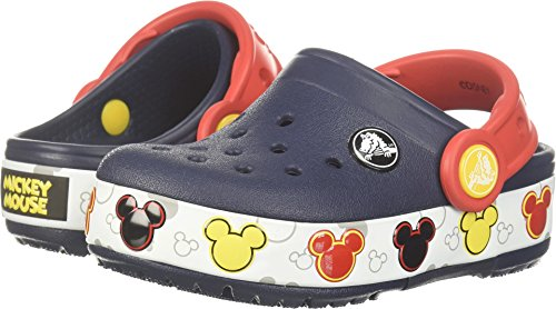 Crocs Unisex-Kids Crocband Mickey Fnlb Lights K Clog, Navy, 12 M US Little (Mickey Light)