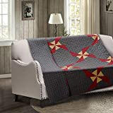 Virah Bella Primitive Farmhouse In the Country Quilt and Sham Set 3 Piece (Blue, Throw)