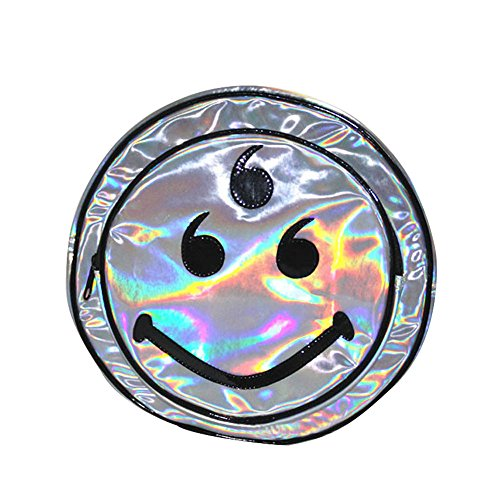 Mogor Women's Silver Hologram Holographic PU Laser Smiley Shoulder Bag