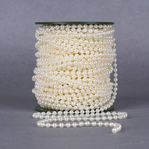 (Krismile® 6mm Pearl Beads Garland diy Wedding Flowers decoration White/Beige 25m/roll diy flower for wedding Christmas Festa,Event supplies)