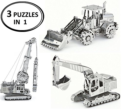 3D Metal Puzzle Models Of Construction Excavator Tractor, Front Loader Bulldozer and Construction Crane - DIY Toy Metal Sheets Assembling Puzzle, 3D puzzle – 3 - Silver International Ray