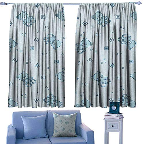 Mannwarehouse Nursery Windshield Curtain Teddy Bears and Toys with Letters on Children Imagery Baby Blue Background Privacy Protection 63