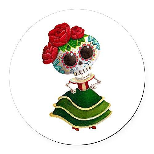 CafePress - El Dia de Los Muertos Skeleton Girl Round Car Magn - Round Car Magnet, Magnetic Bumper Sticker (El Halloween En Mexico)