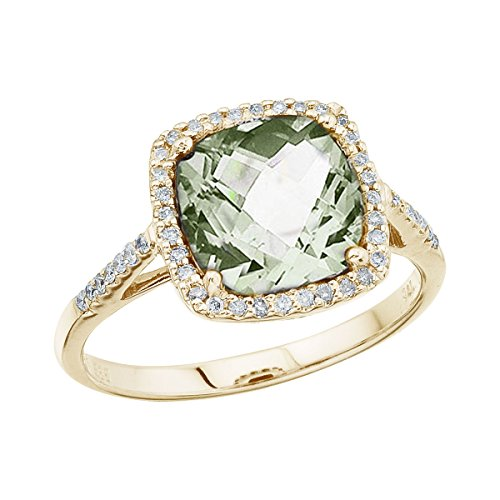 2.80 Carat ctw 14k Gold Princess Green Amethyst Diamond Halo Engagement Anniversary Fashion Cocktail Ring - Yellow-gold, Size (Gold Citrine Cocktail)