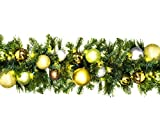 Queens of Christmas WL-GARBM-09-WOOD-LWW Pre-Lit LED Blended Pine Christmas Garland Decorated with The Woodland Ornament Collection, 9', Warm White