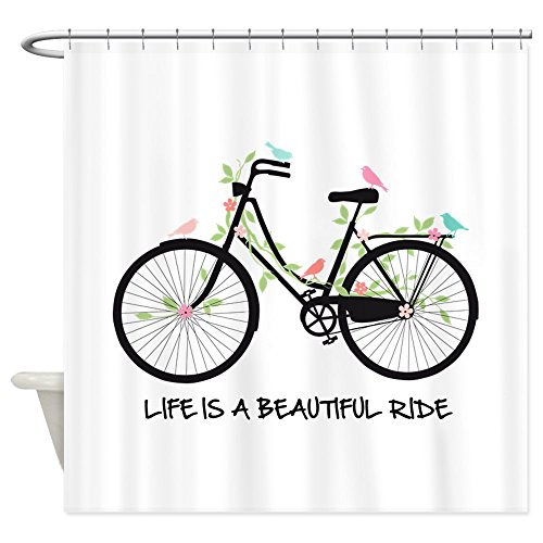 """CafePress Life is A Beautiful Ride Decorative Fabric Shower Curtain (69""""x70"""")"""