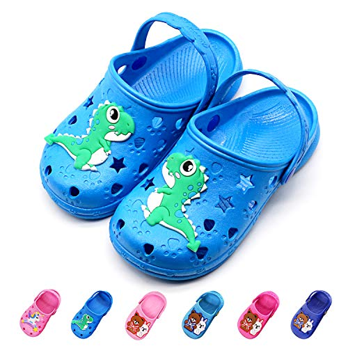 Namektch Toddler Little Kids Clogs Slippers Sandals, Non-Slip Girls Boys Slide Lightweight Cartoon Garden Slip-on Shoes Beach Pool Shower Slippers (Toddler 10.5-11.5M, Dinosaur)