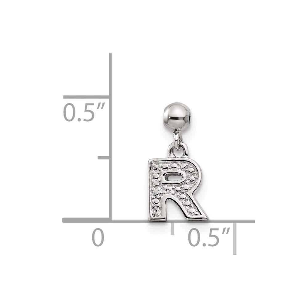 Sterling Silver Mio Memento Dangle Letter R Bead Slide Charm