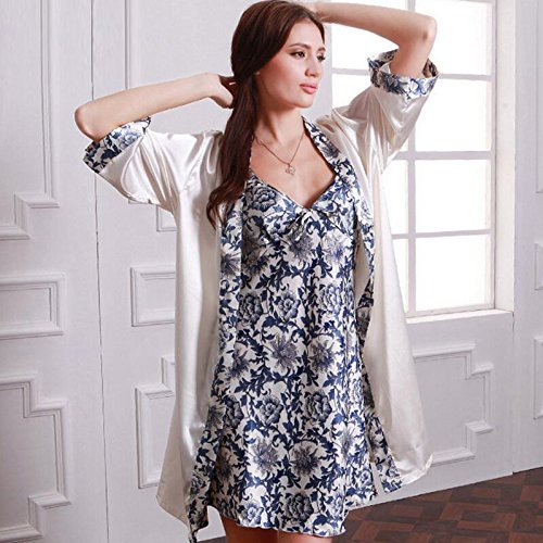 Porcelain Dressing Nightgown Women Printed Dressing Dress with Strap Blue Gowns Pajamas White Wanyne Bathrobe Gowns Set and TdCzqww