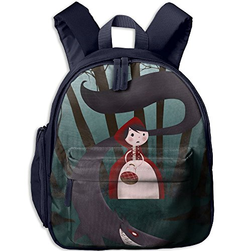 Little Red Riding Hood And Big Wolf Printed Kids School Backpack Cool Children Bookbag Navy (Little Red Riding Hood Cool School)