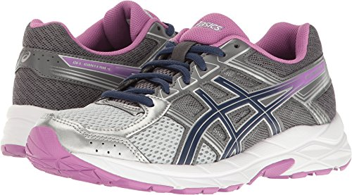 ASICS Women's Gel-Contend 4 Running Shoe, Silver/Campanula/Carbon, 5.5 D US