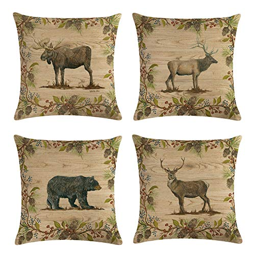 Decroitem Retro Vintage Background Wildlife Elk Moose Bear Deer Pine Tree Forest Mountain Throw Pillow Covers Cotton Linen Pillowcase Cushion Cover Christmas Home Decor 18
