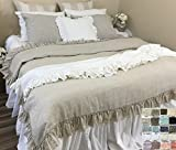 Natural Linen Throw Blanket with Vintage Ruffles Styles, Timeless Ruffle Throw! Machine Washable! FREE SHIPPING