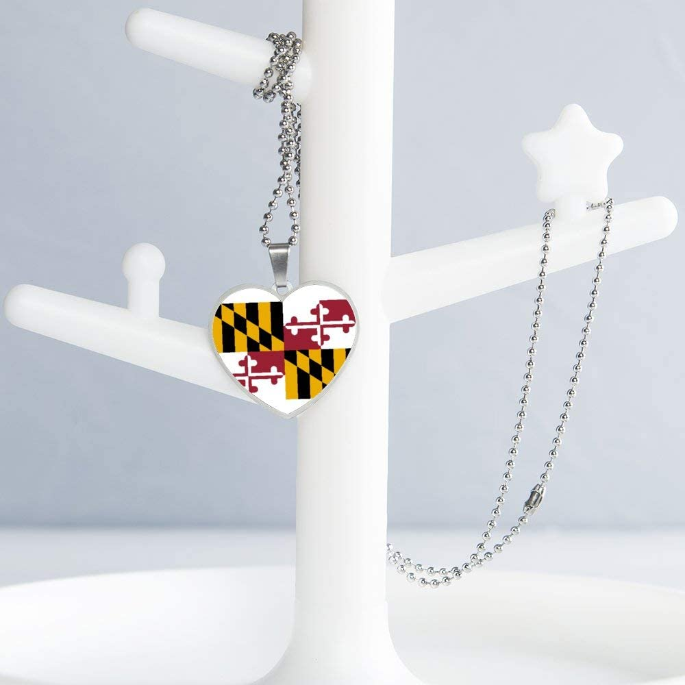 Maryland Flag Necklace Personalized Engraved Heart Custom Gift Pendant-Valentines Day Love